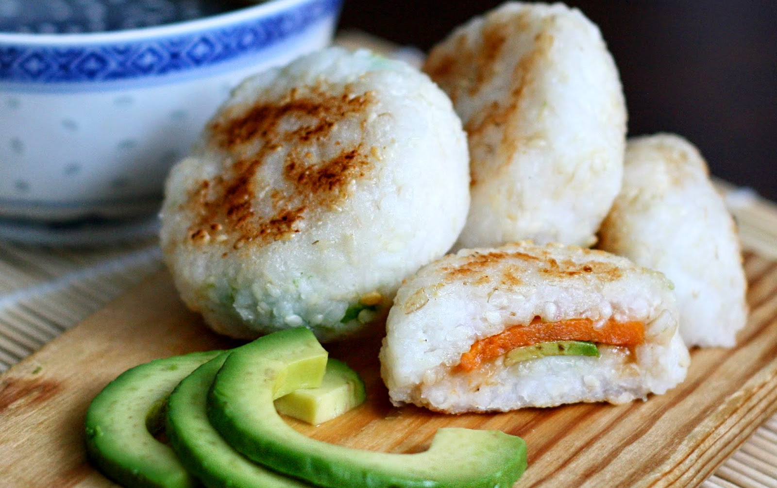 Yaki Onigiri With Sweet Potato and Avocado Filling [Vegan, Gluten-Free]