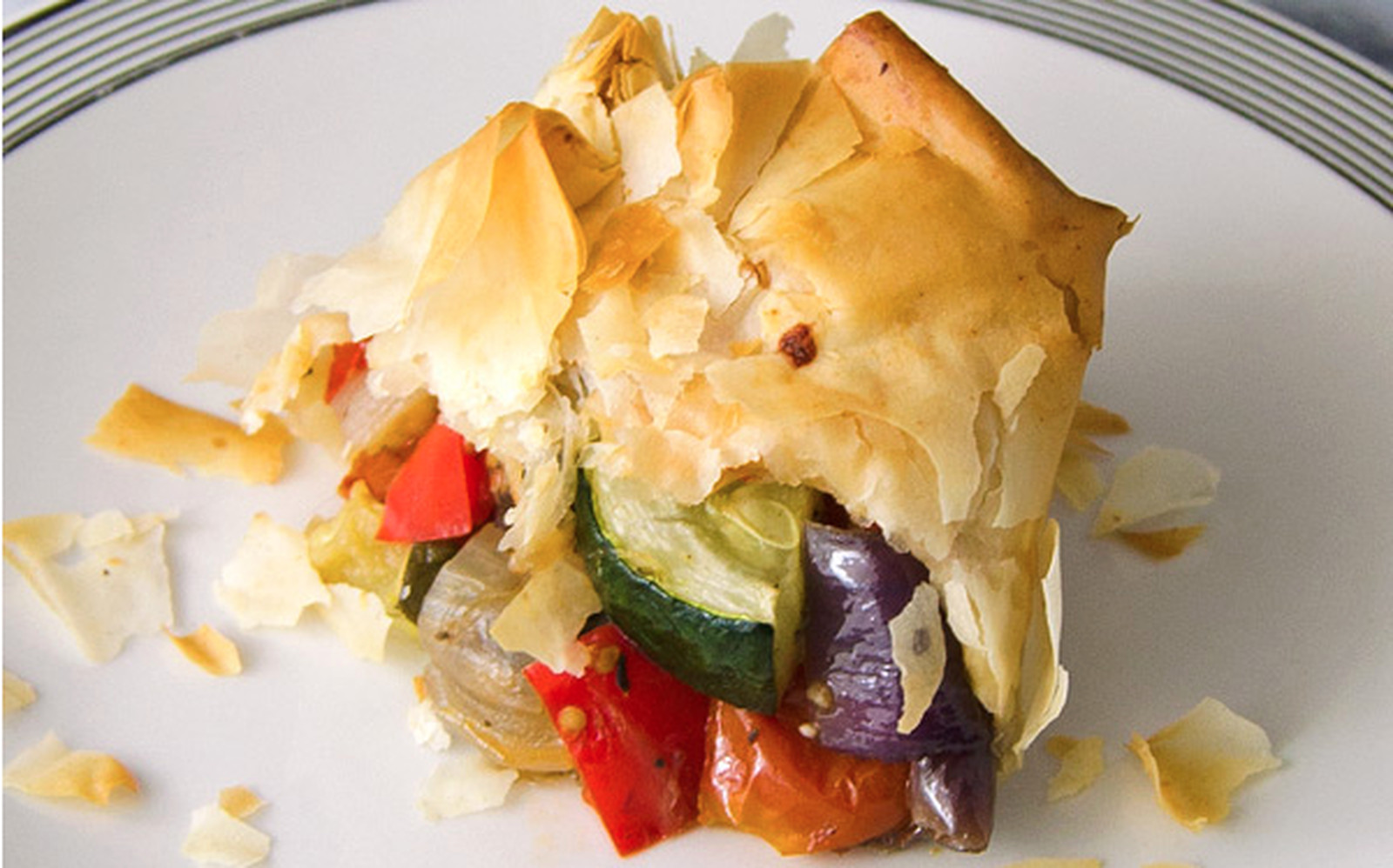 Vegan Roasted Vegetable Phyllo Bundles