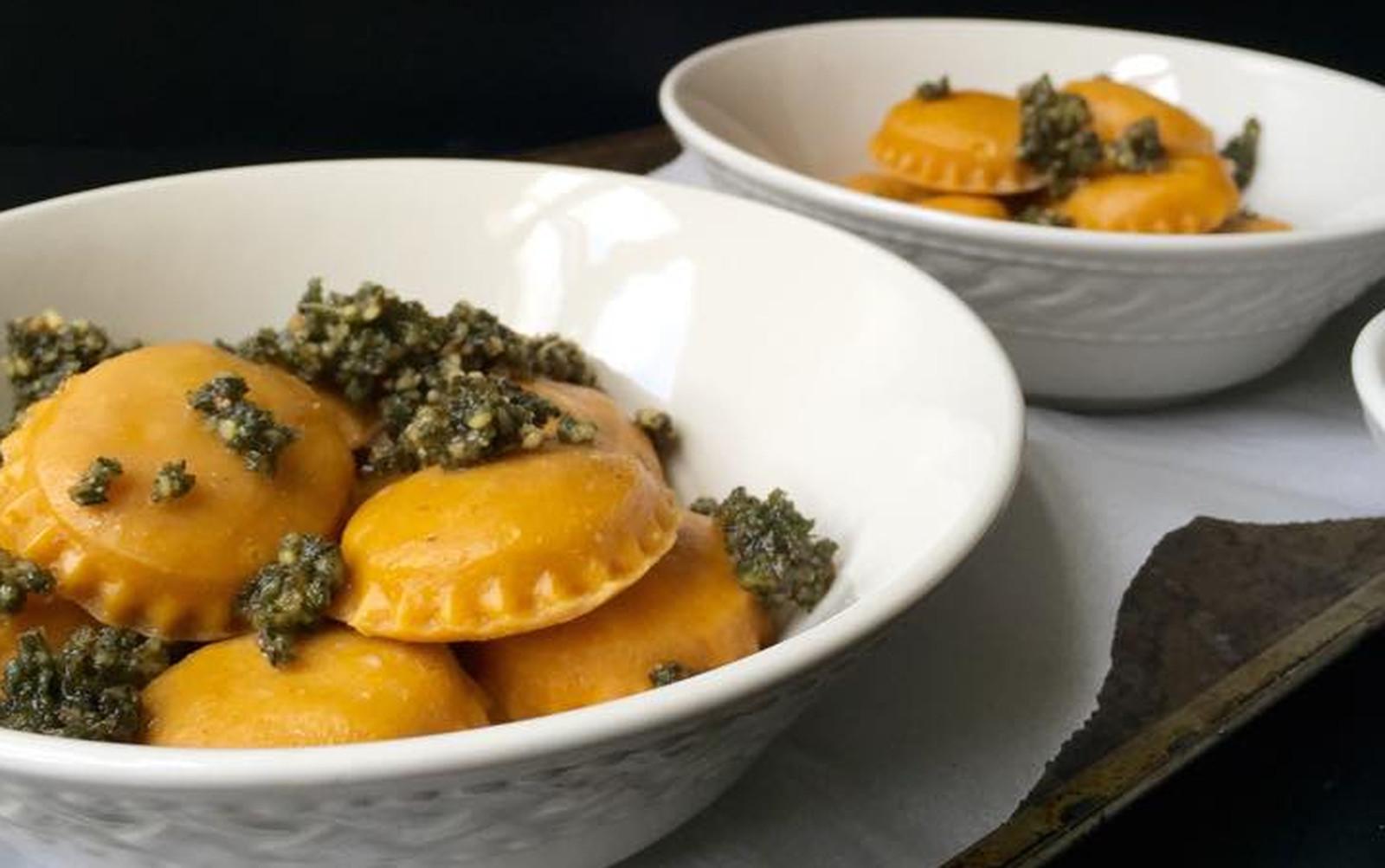 Portobello Pumpkin Ravioli With Sage and Walnut Pesto [Vegan]