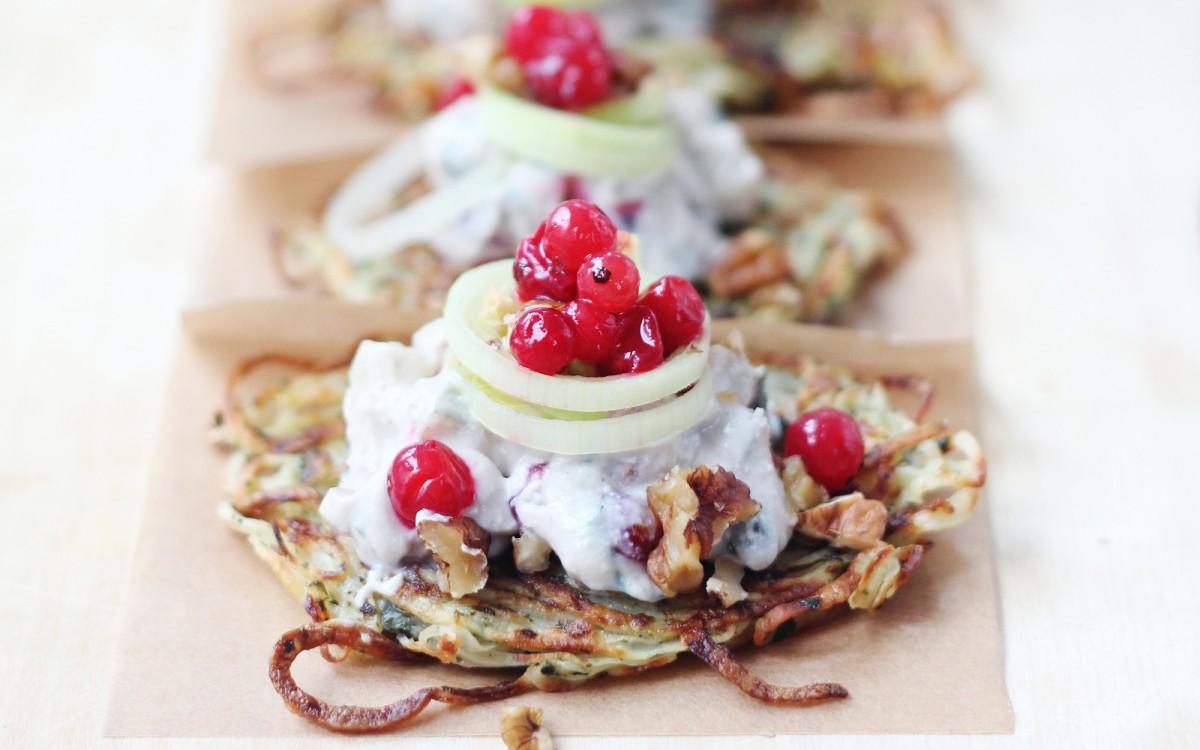 Mini Rosti (Potato Cakes) With Zesty 'Tofraiche' Salad [Vegan, Gluten-Free]