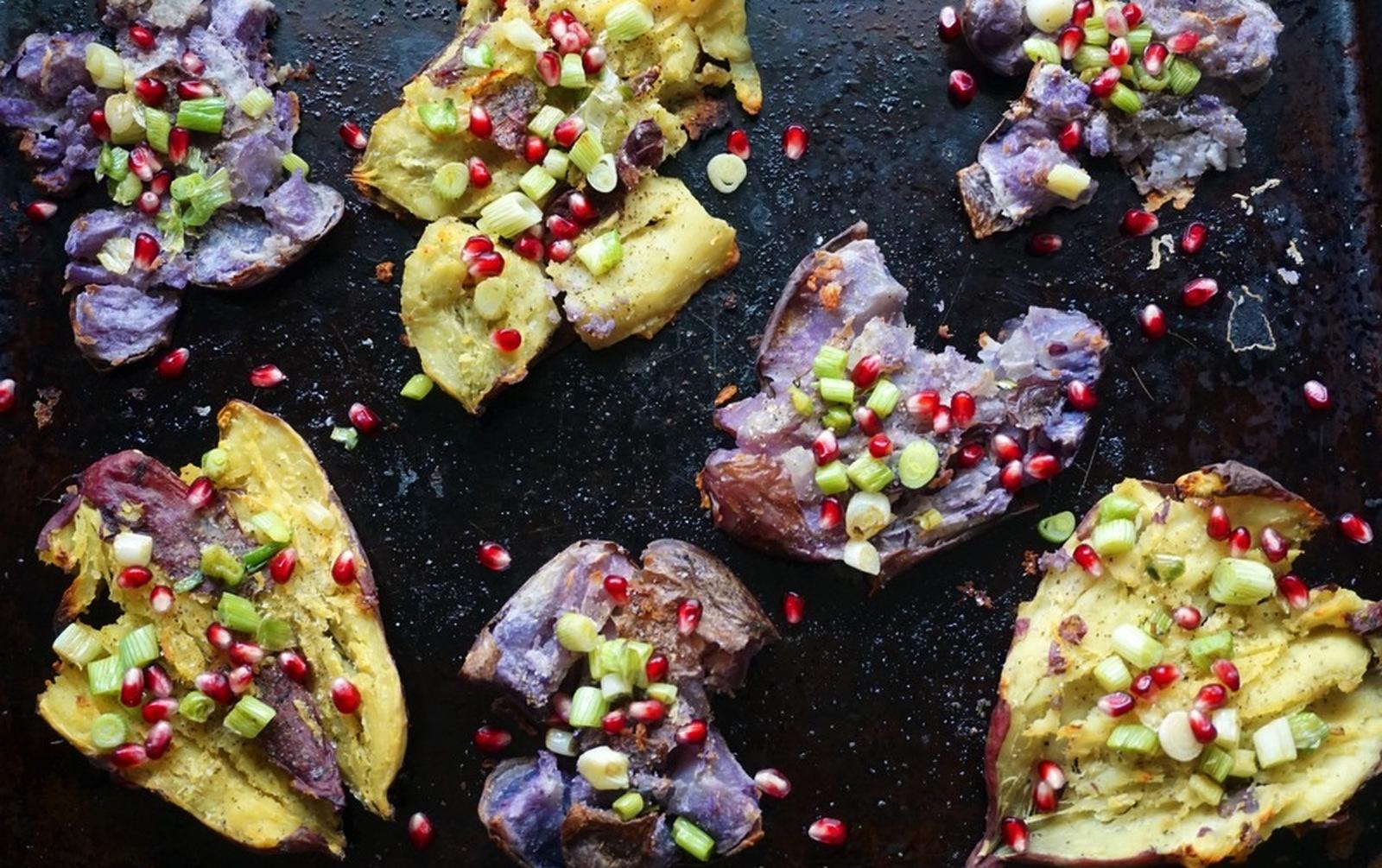 Vegan Loaded Crispy Smashed Sweet Potatoes With Avocado Roasted Chile Crema