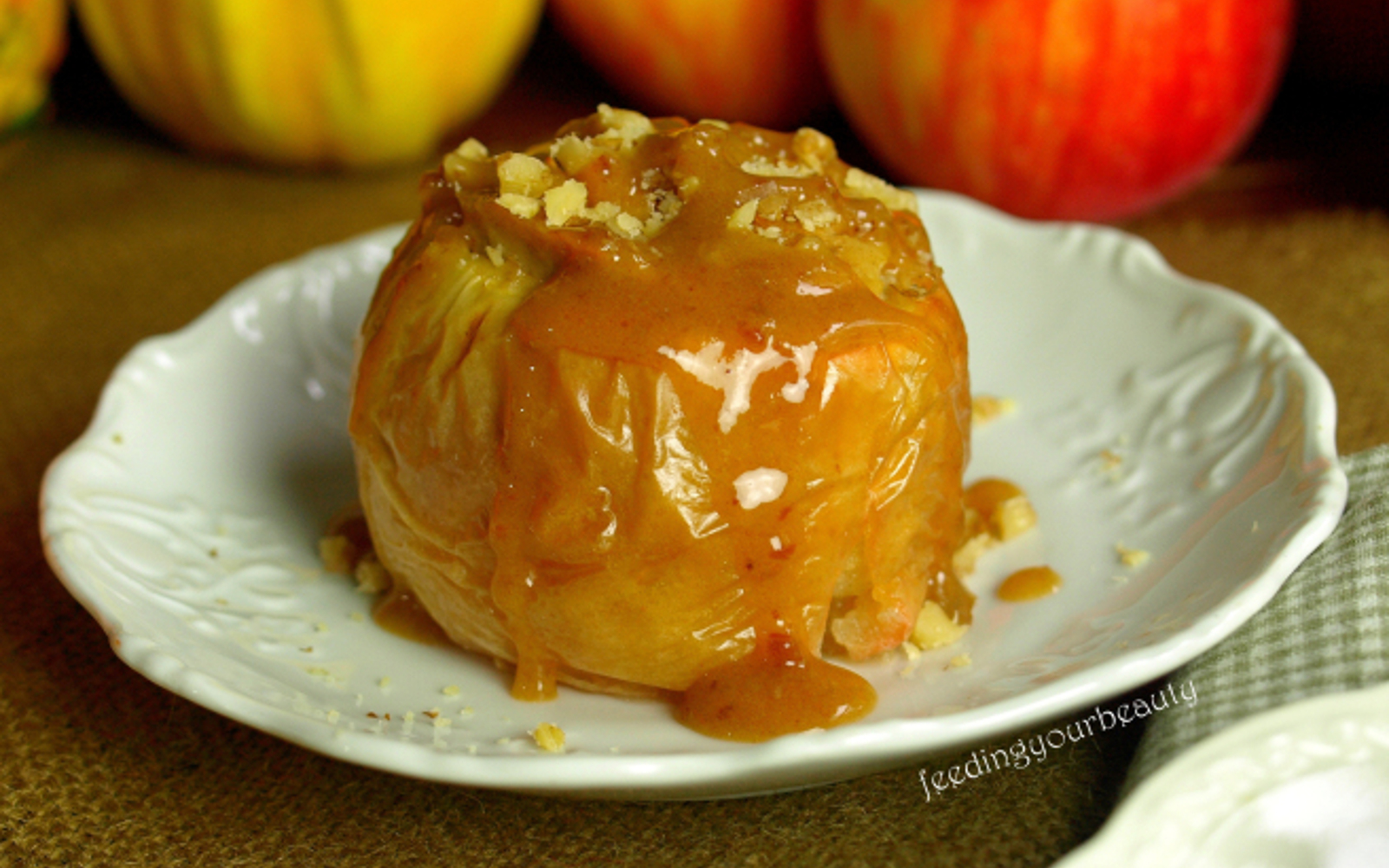Baked Cheesecake Stuffed Apple