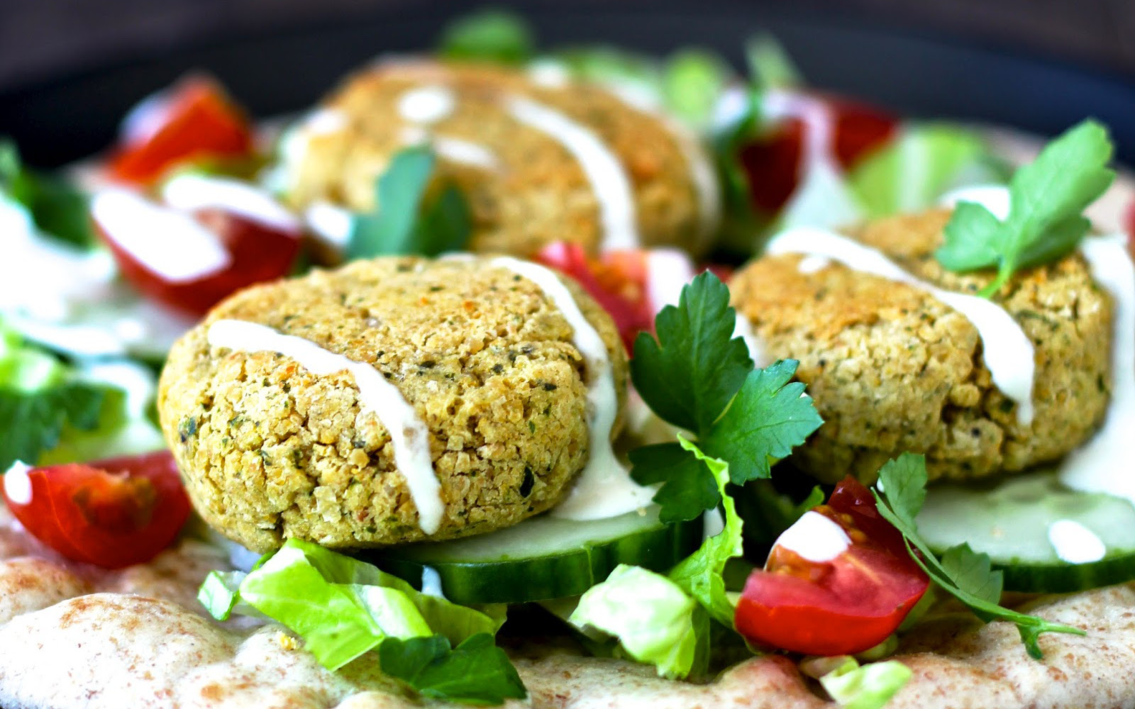 Baked Falafel With Fresh Herbs and Yogurt Tahini Sauce