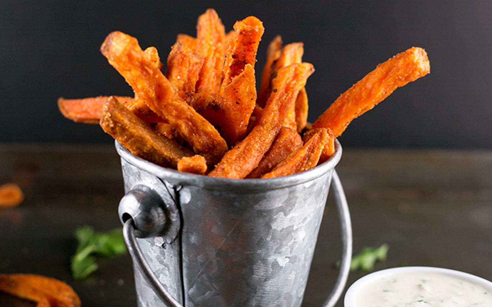Vegan Indian Spiced Sweet Potato Fries With Parsley Cashew Dip