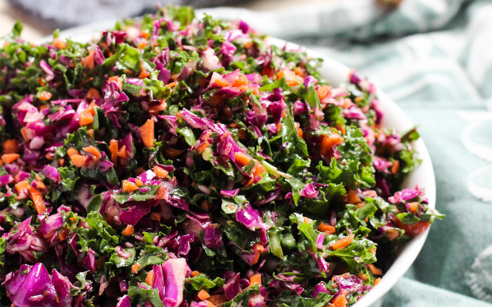 Kale, Cabbage, and Carrot Slaw With Tangy Shallot Vinaigrette
