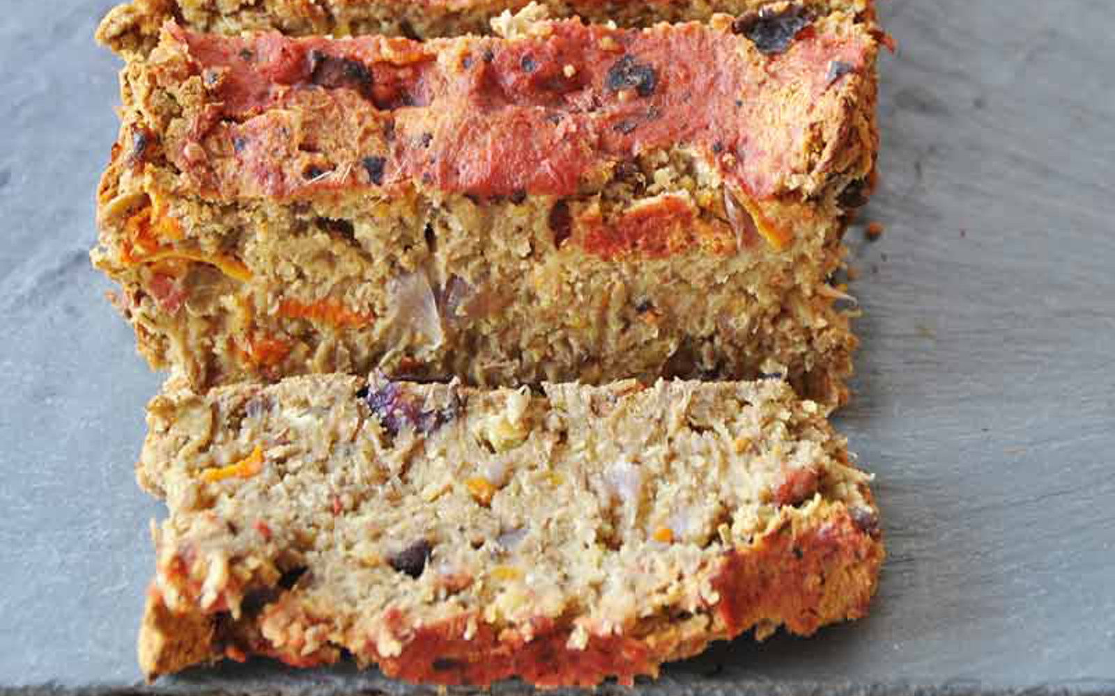 lentil loaf with carrots onions and mushrooms