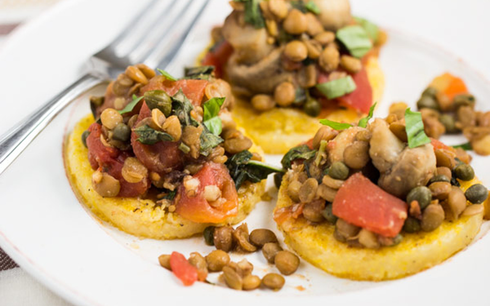 Polenta Cakes with Lentils and Veggies