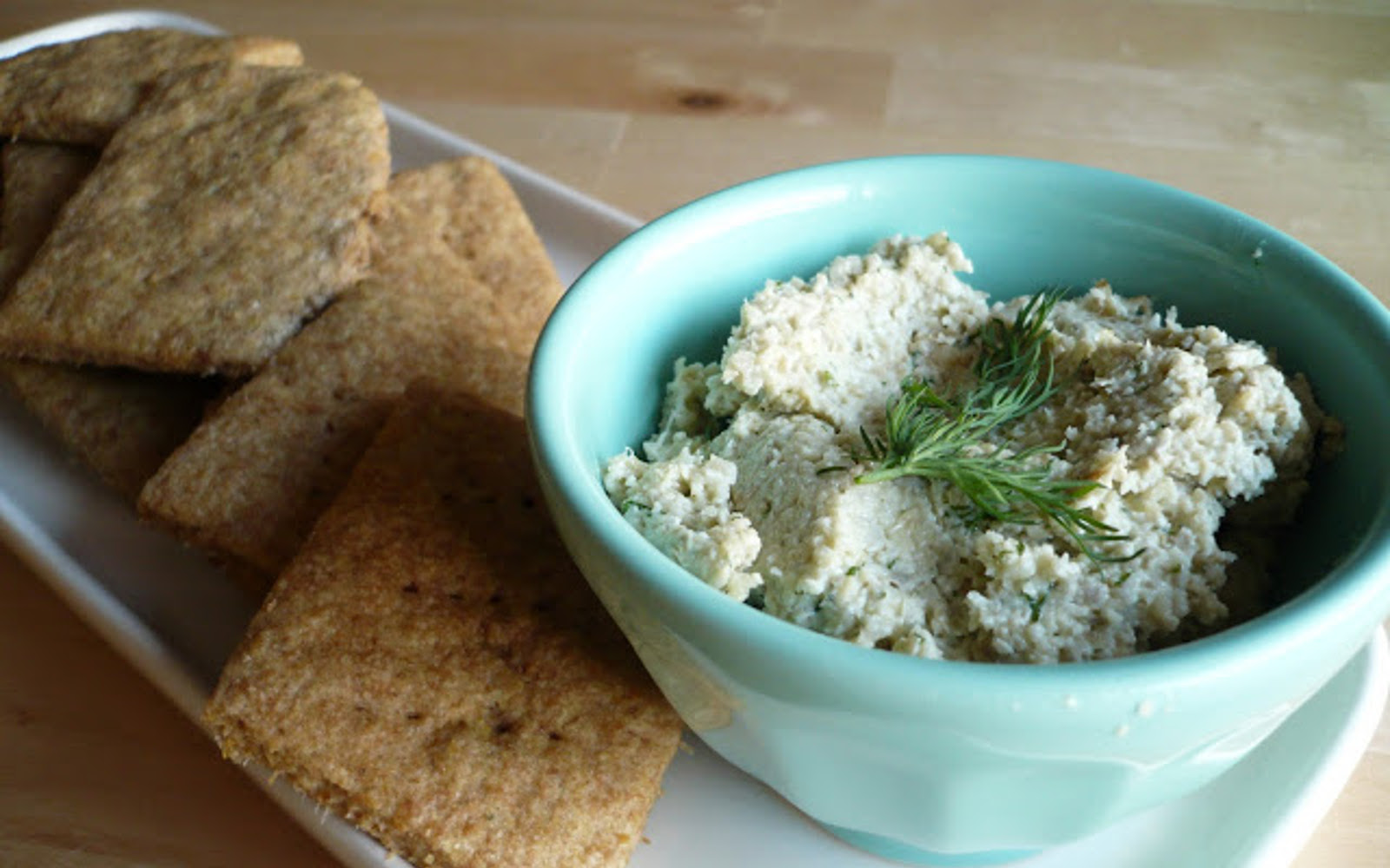 Spelt and Flax Crackers With a Lemon Dill Sunflower Pate