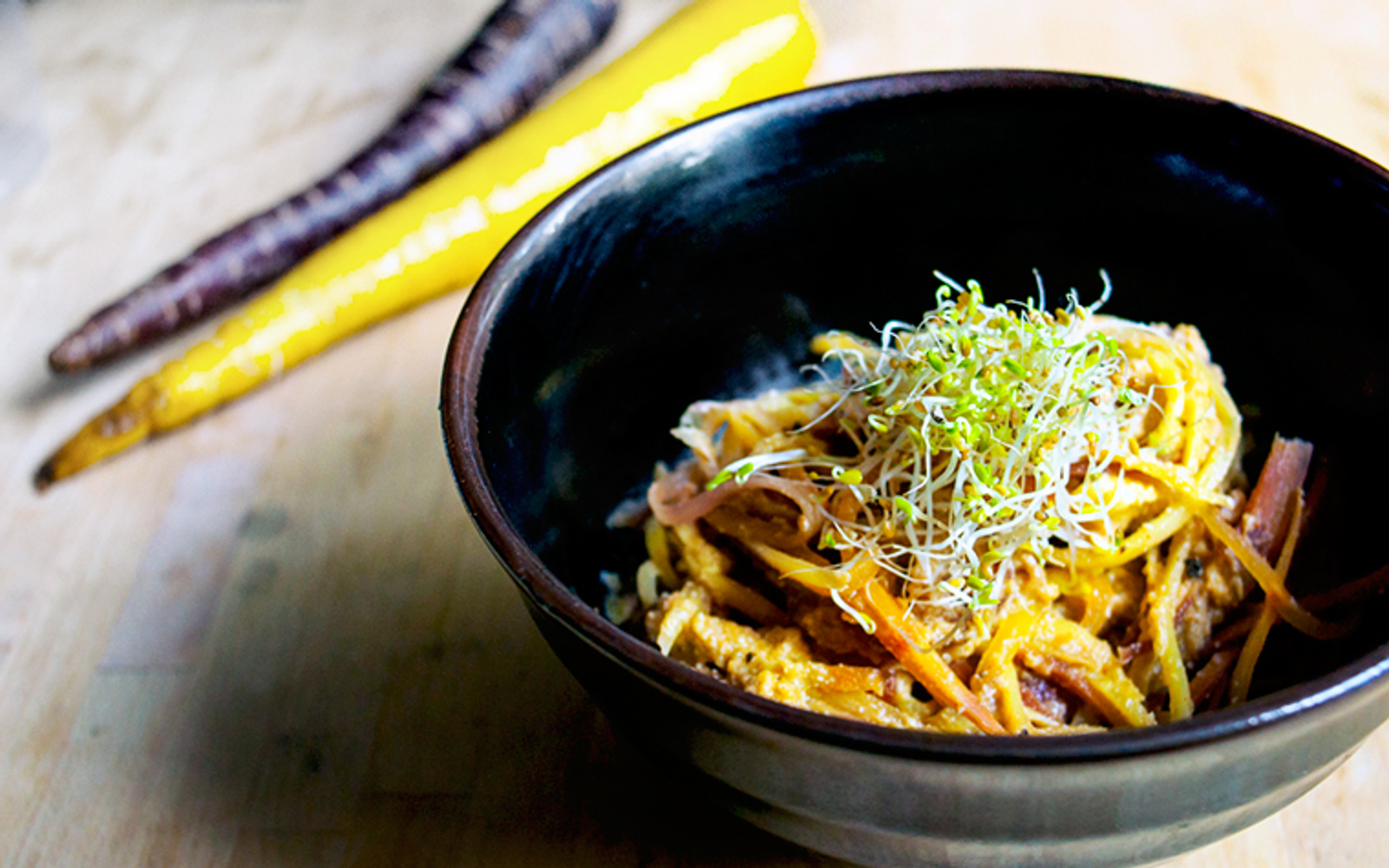 Heirloom Carrot Pasta With a Sunflower Cheese Sauce
