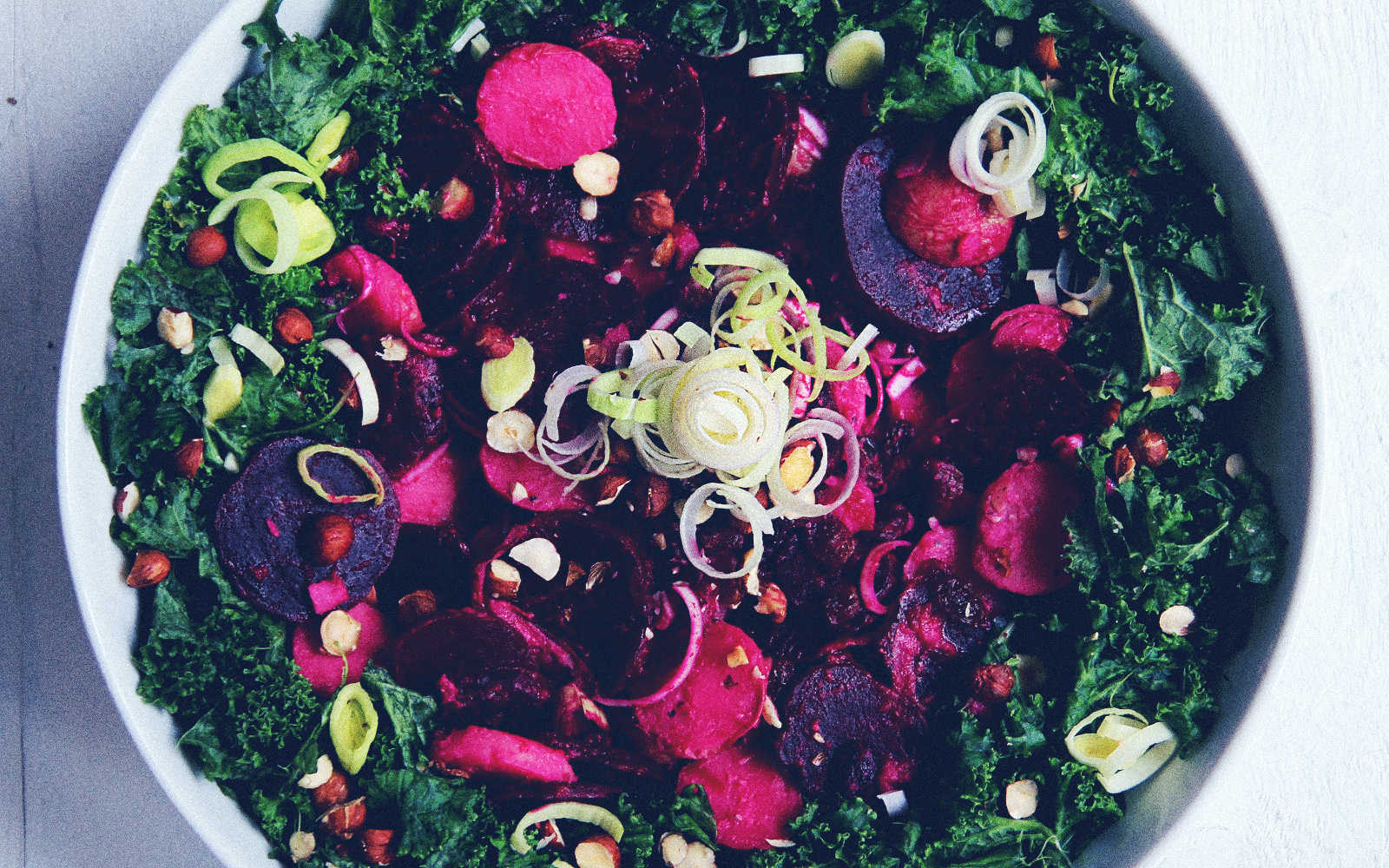 Beetroot Salad With Kale and Toasted Hazelnuts