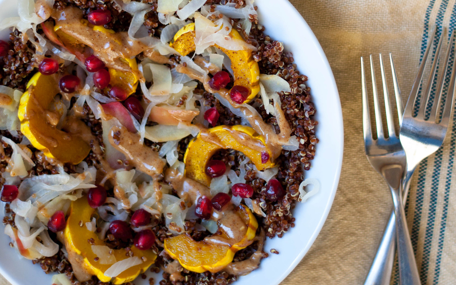 Toasted Quinoa Delicate Squash Bowls With Pickled Apples and Almond Butter Sauce