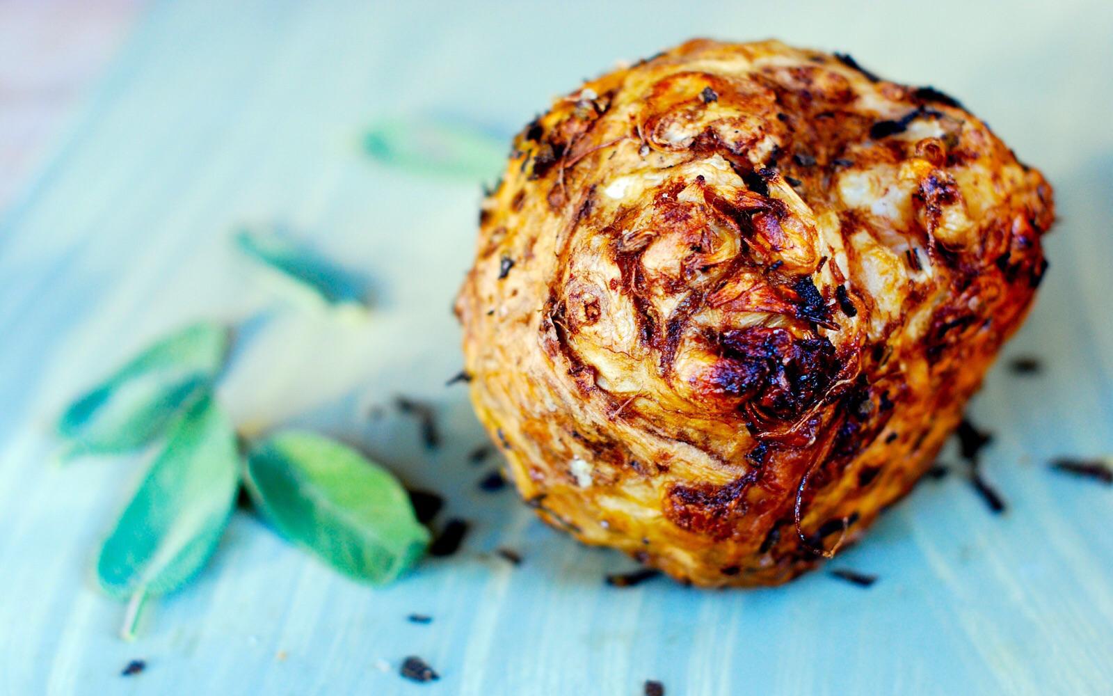 Vegan Whole Roasted Celeriac With Herbs, Olive Oil, and Sea Salt