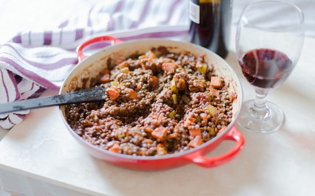 Wine-Glazed Vegetables and Lentils