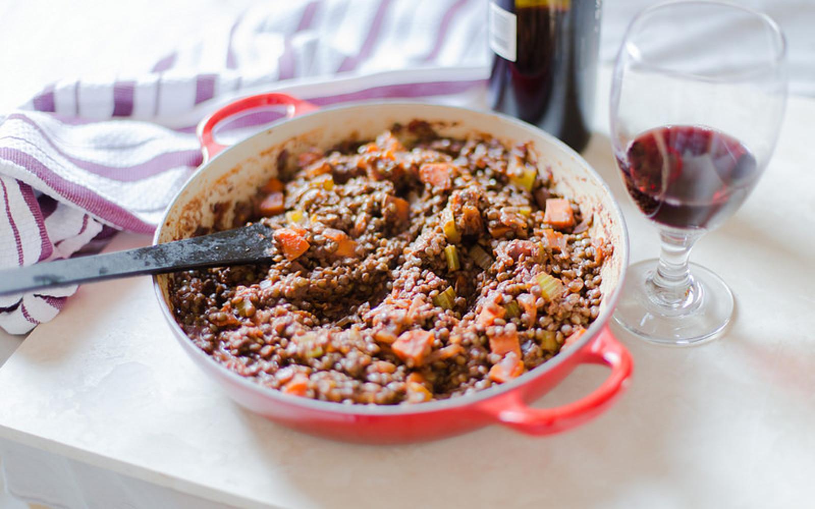 Wine-Glazed Vegetables and Lentils