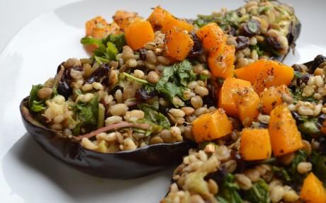 Barley, Lentil, and Herb-Roasted Butternut Squash-Stuffed Eggplant
