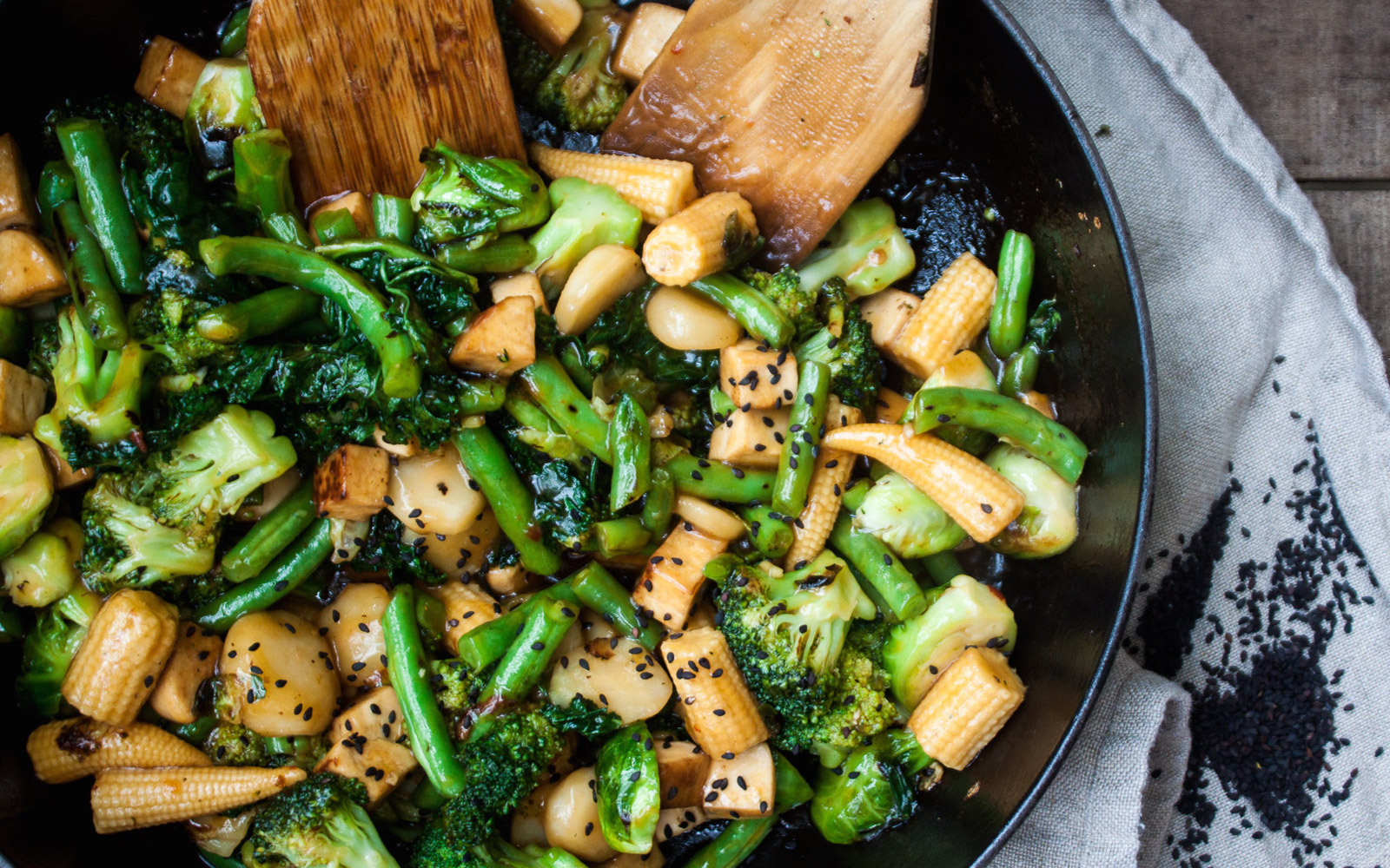 Black Sesame Vegetable and Tofu Stir-Fry With Chili Sauce