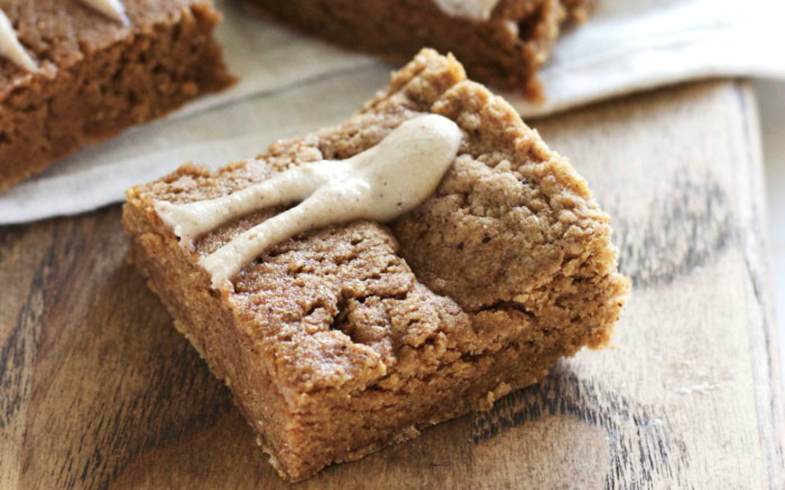 Chewy Chai-Spiced Breakfast Protein Bars With Maple-Cashew Icing
