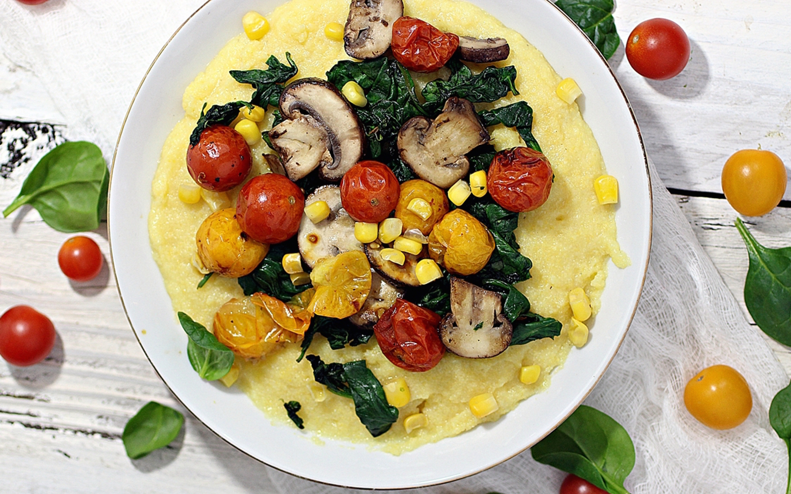 Creamy Polenta With Roasted Cherry Tomatoes, Mushrooms, and Spinach