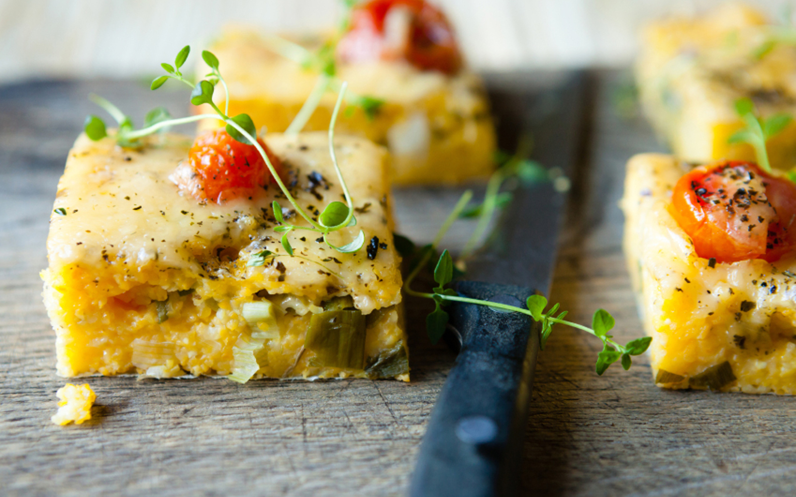 Baked Herbed Polenta With Pesto