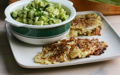 Latkes With Fennel and Avocado Tartare