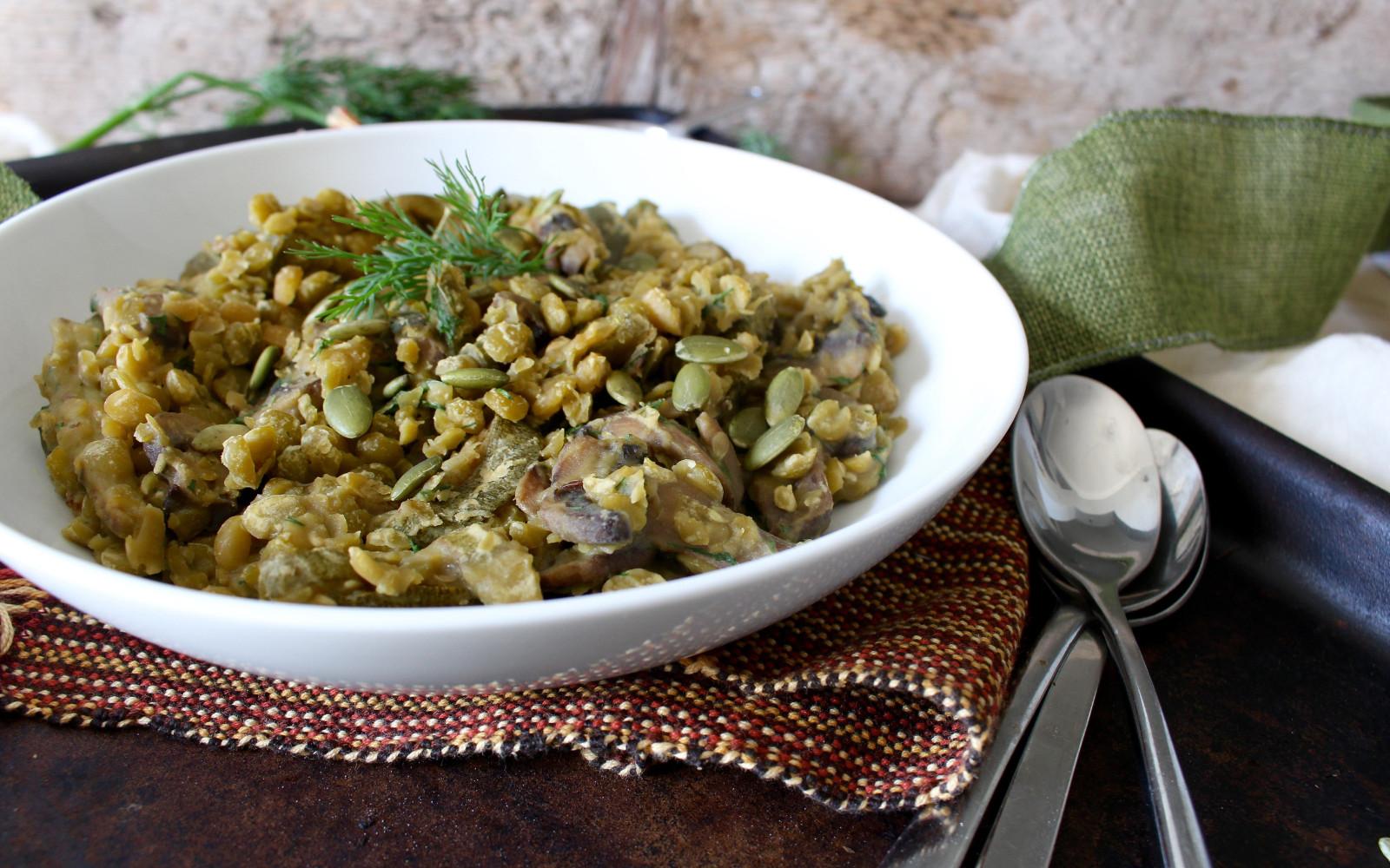 Lemony Balsamic Split Pea and Mushroom Risotto