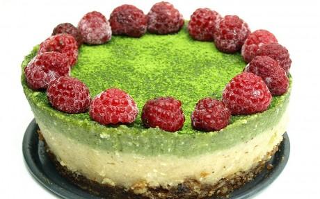 Raw Matcha Raspberry Cheesecake With a Raisin-Walnut Crust