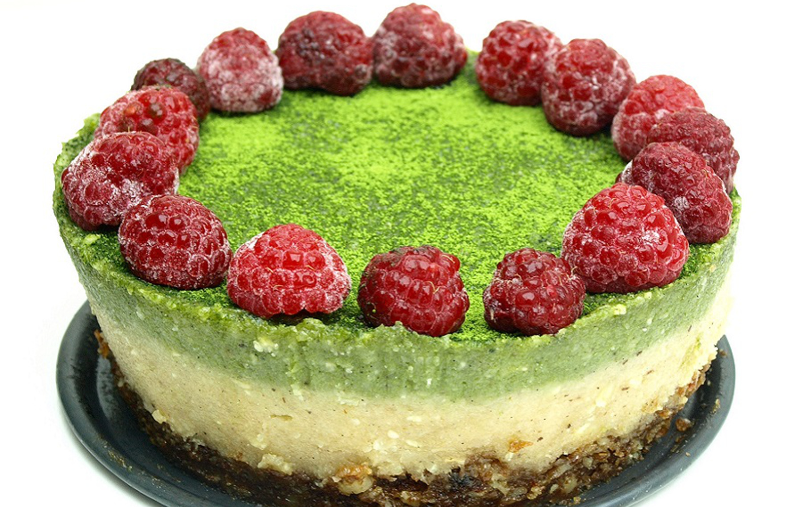 Raw Matcha Raspberry Cheesecake With a Raisin-Walnut Crust