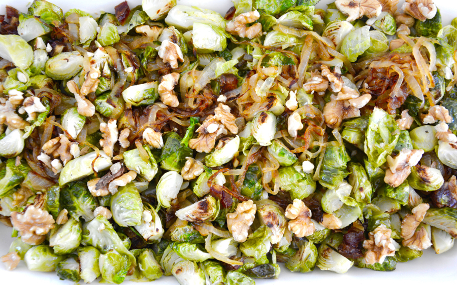 roasted brussels sprouts with walnuts dates and carmelized onions