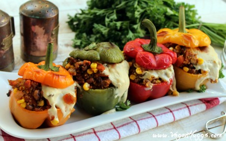 Santa Fe Roasted Stuffed Peppers With Spicy Cashew Mozzarella