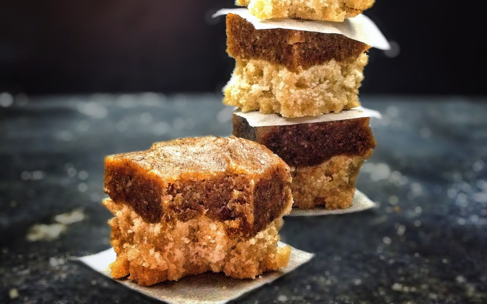 Spicy Ginger Square With a Sticky, Spicy Date Topping
