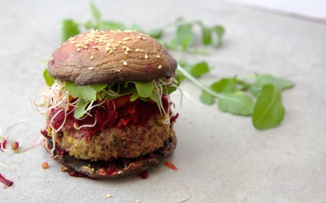 Sweet Potato and Quinoa Burgers With a Butter Bean Tahini Sauce