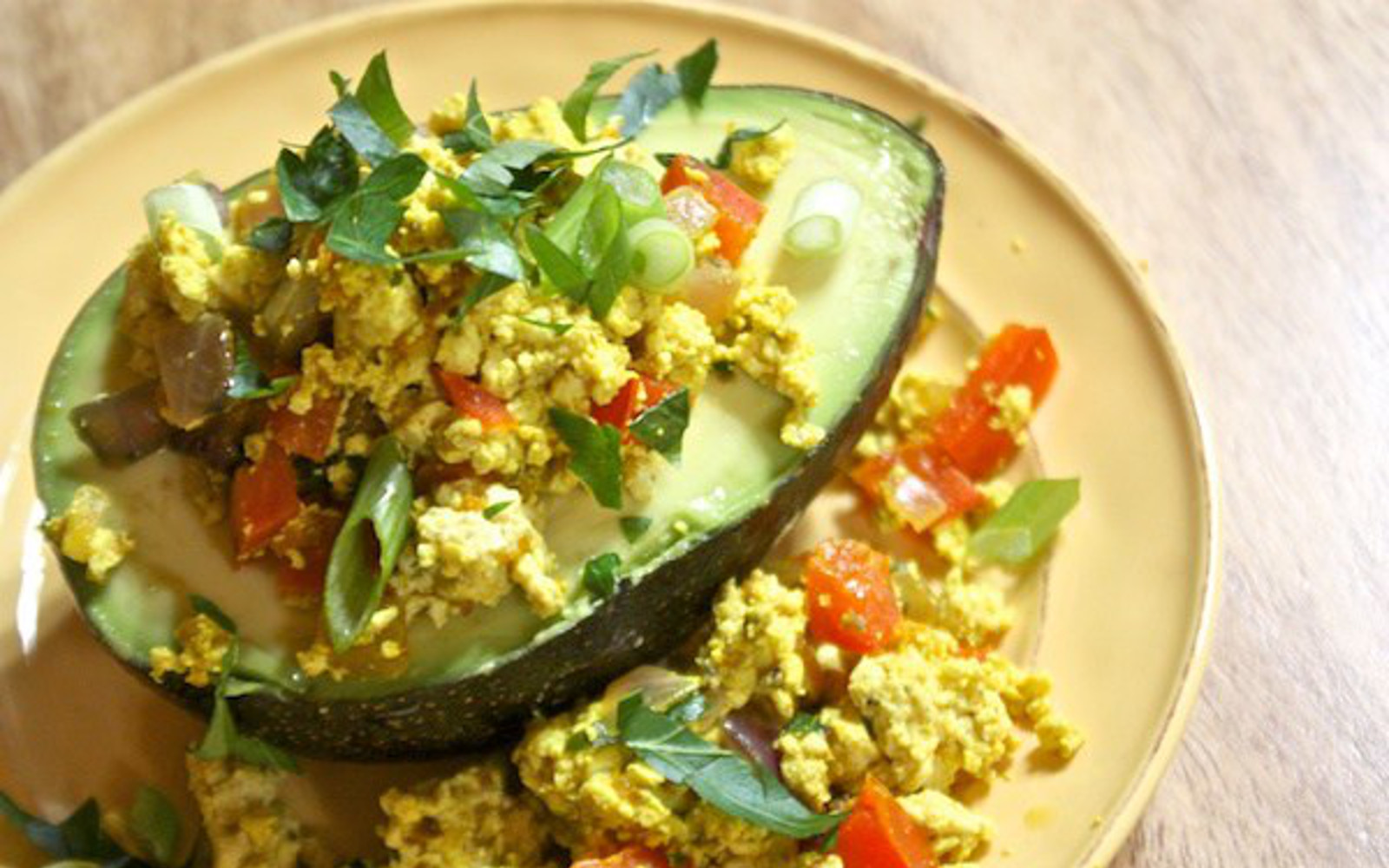 Tofu Scramble-Stuffed Avocado