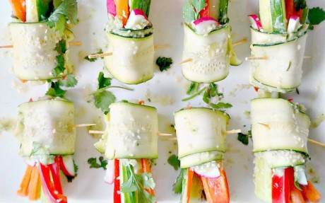 Veggie Rolls with Avocado Hummus