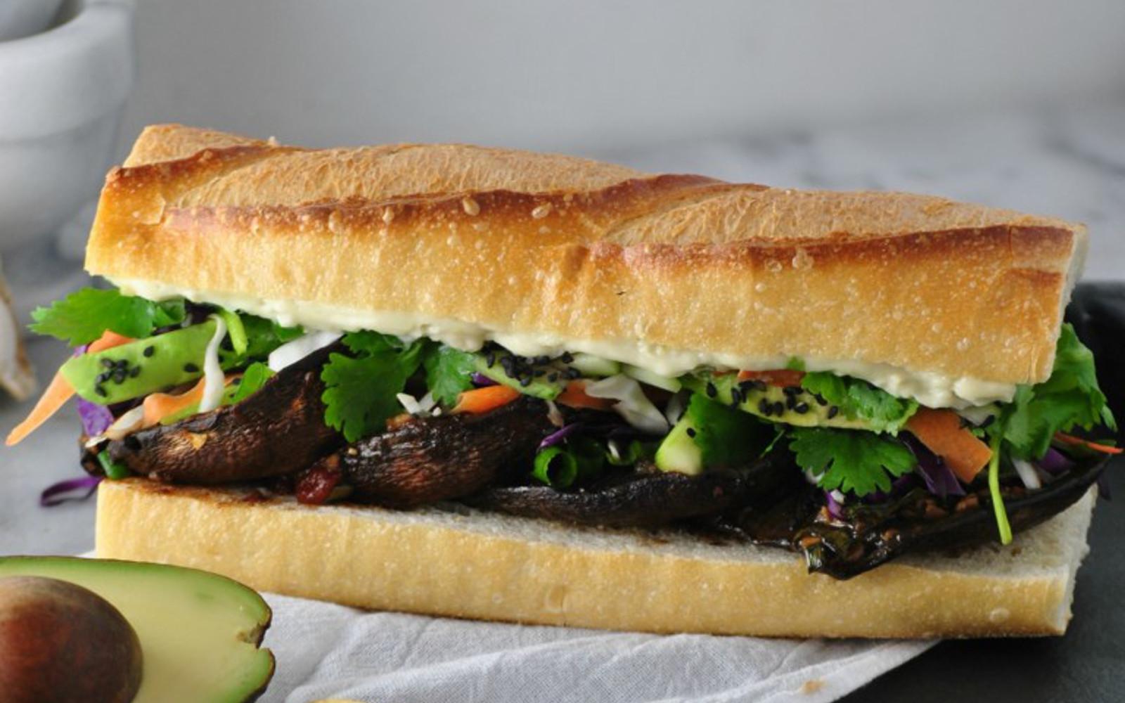 Asian Portobello Sandwich With Wasabi Mayo