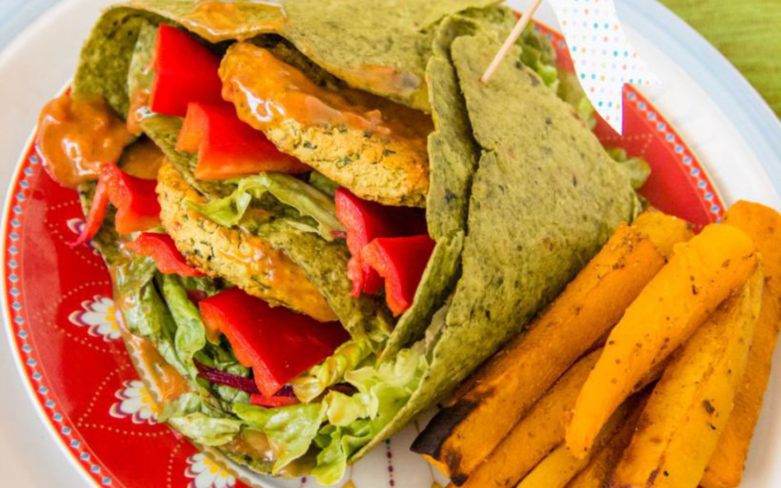 red lentil burger patty wraps