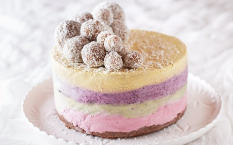 Four Layer Raw Rainbow Ice Cream Cake