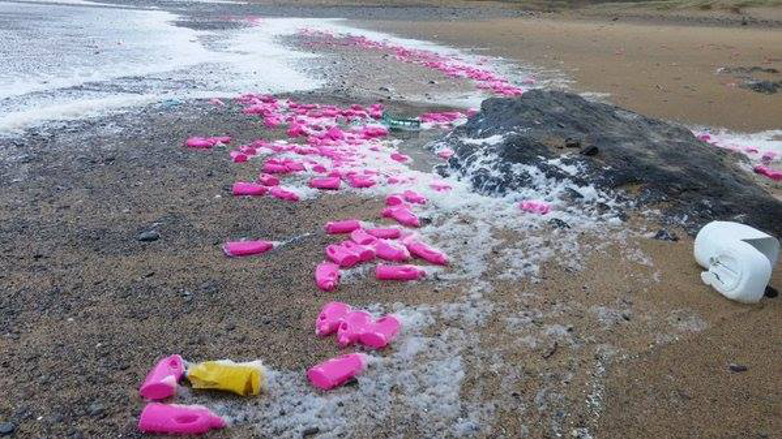 These Images of Hot Pink Bottles Washed Ashore Tell a Bigger Story About Ocean Trash (PHOTOS)