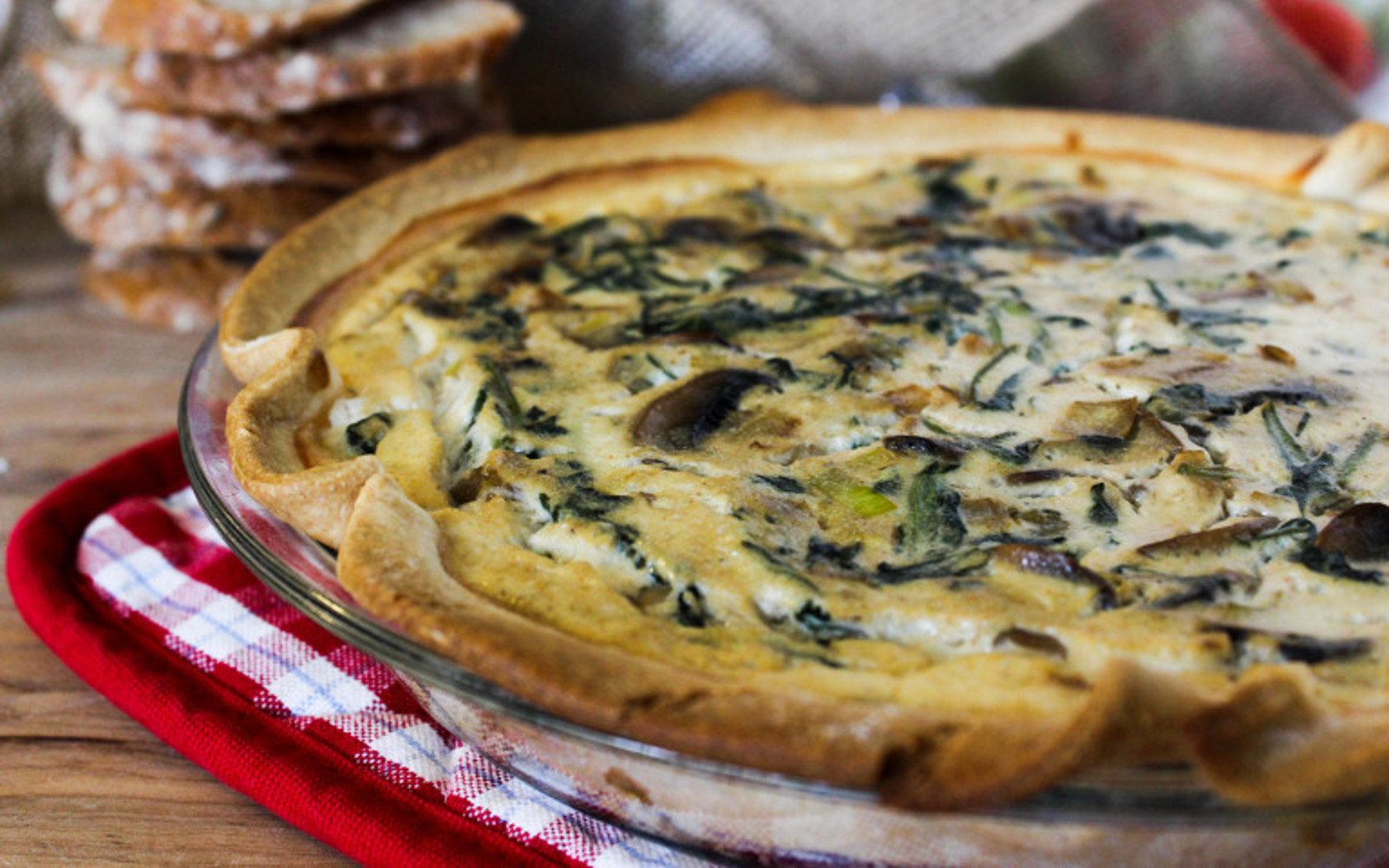 Button Mushroom and Leek Quiche