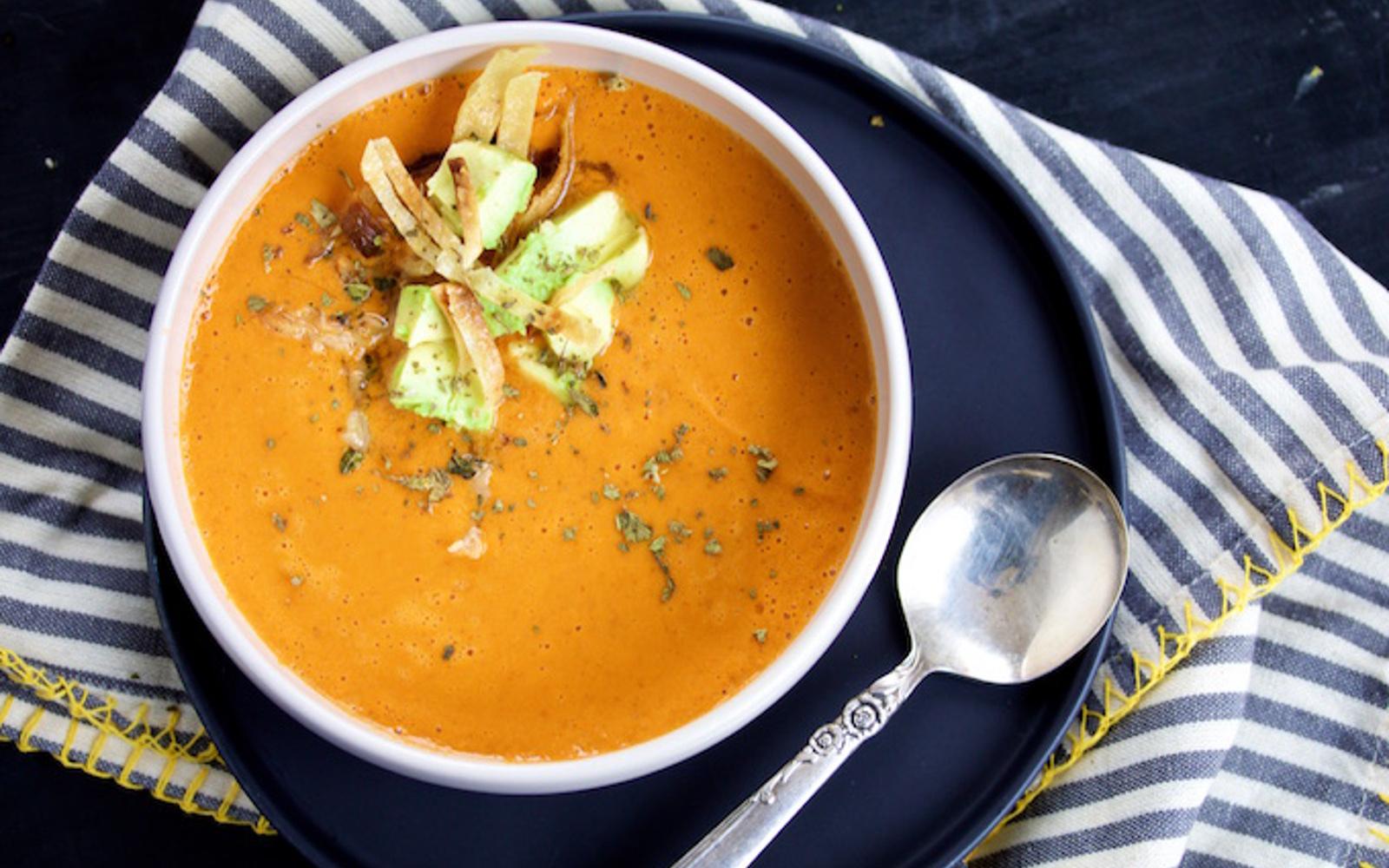 Creamy Chipotle Tomato Soup With Avocado
