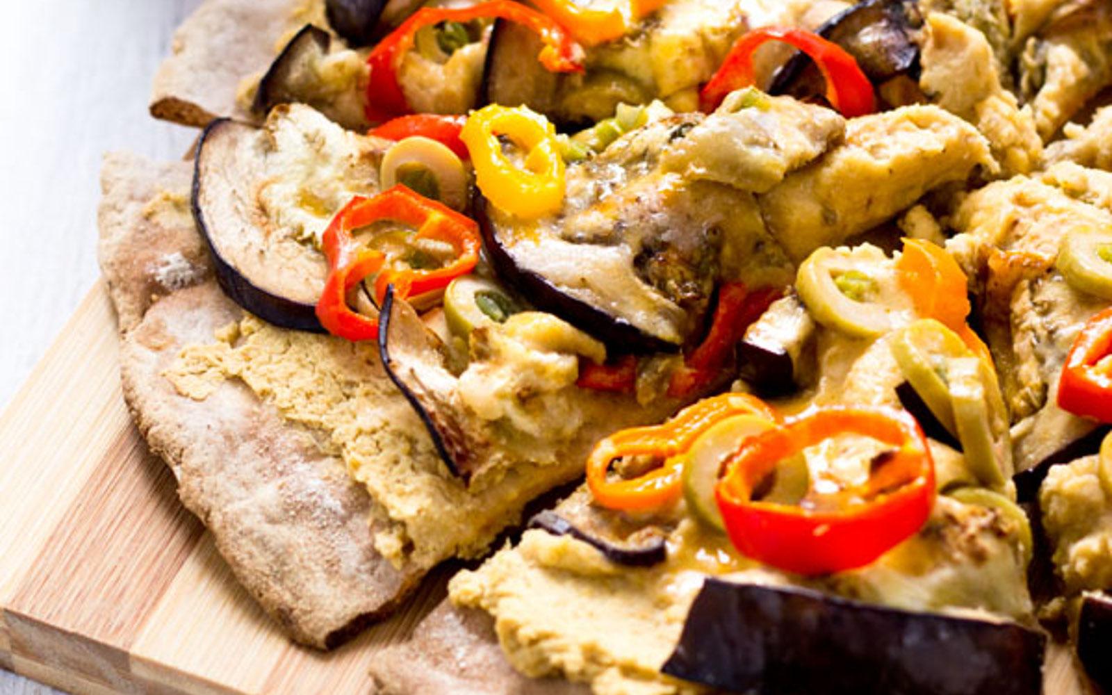 Eggplant Hummus Pizza on a Mixed Grain Crust