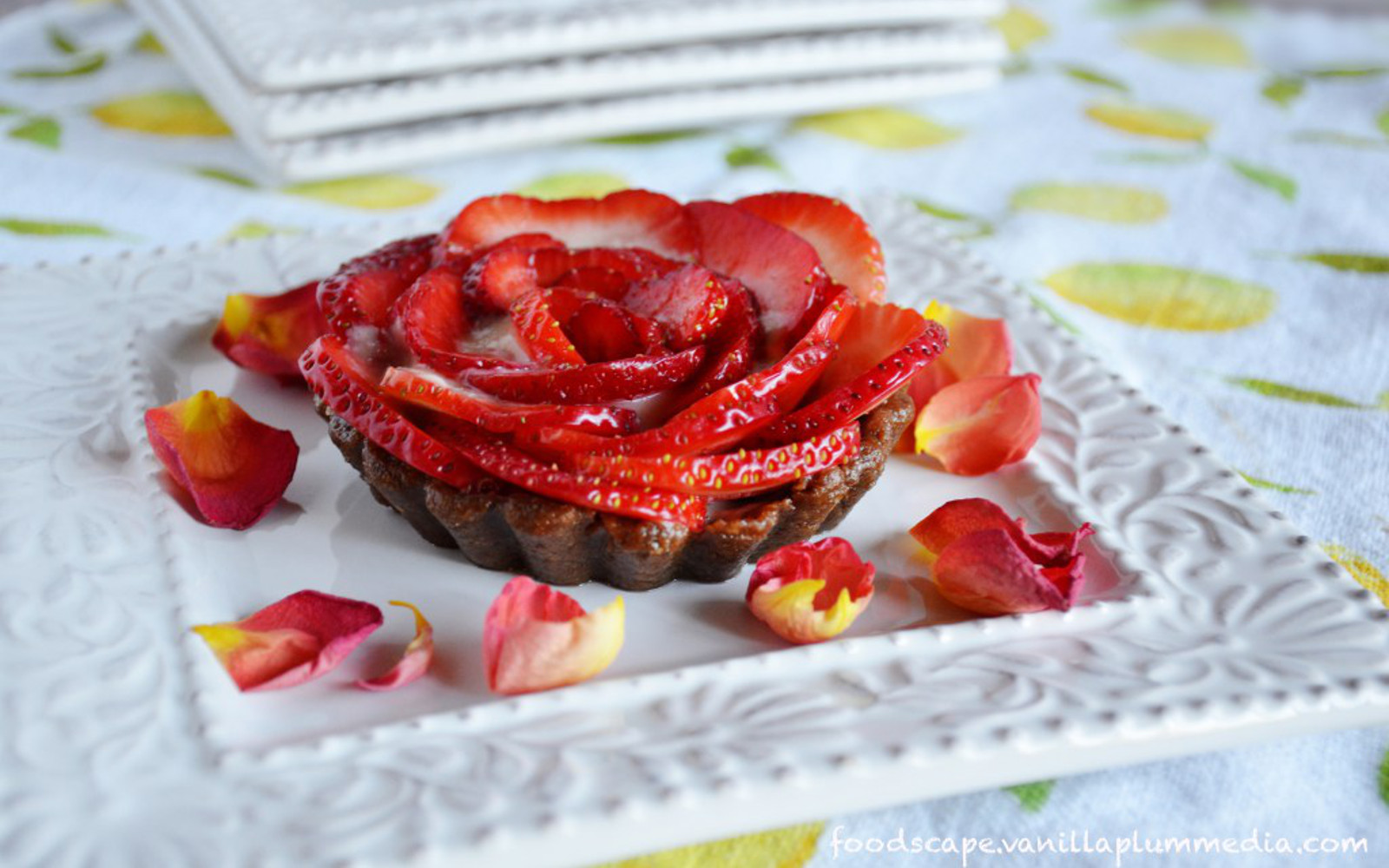 Mini Strawberry Tartlets With a Lemon Rose Custard Cream