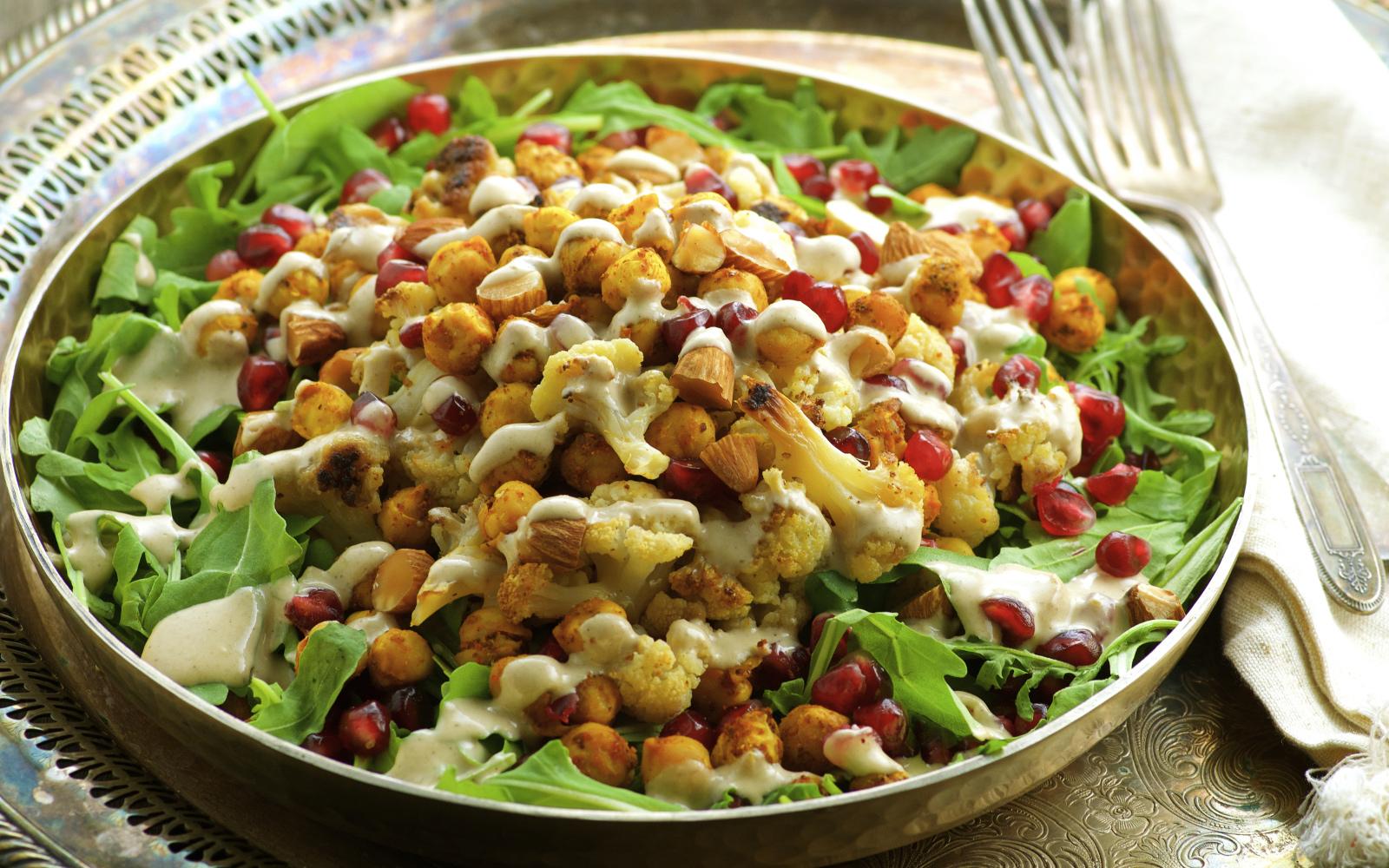 Roasted Cauliflower and Spiced Chickpea Salad