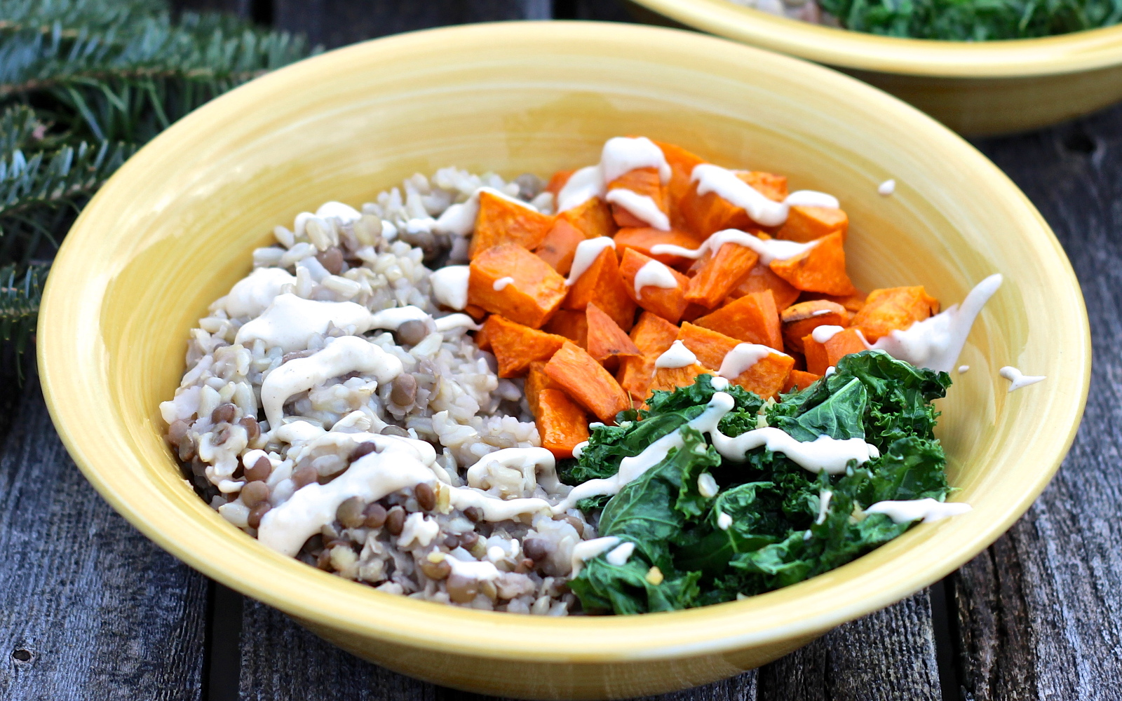 Wholesome Winter Power Bowl With Sweet Potato, Kale, and Lemon-Tahini Dressing