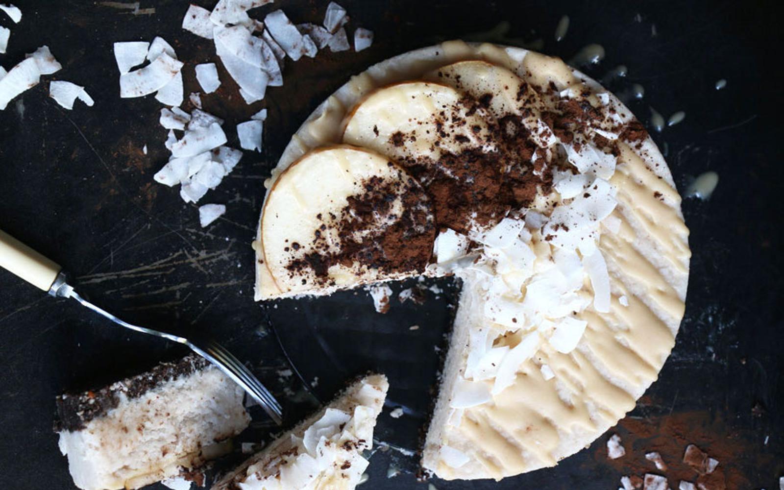 Raw Carob Coconut and Pear Cake