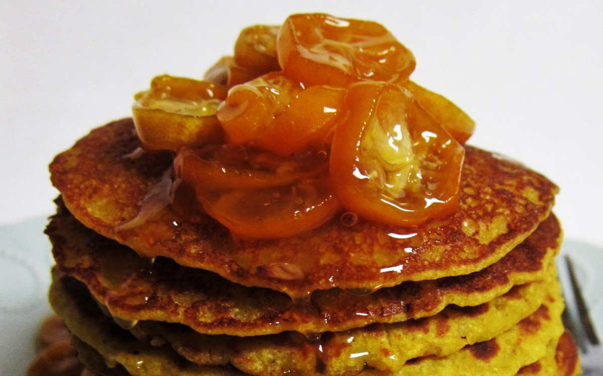 Citrus Corncakes With Kumquat Syrup