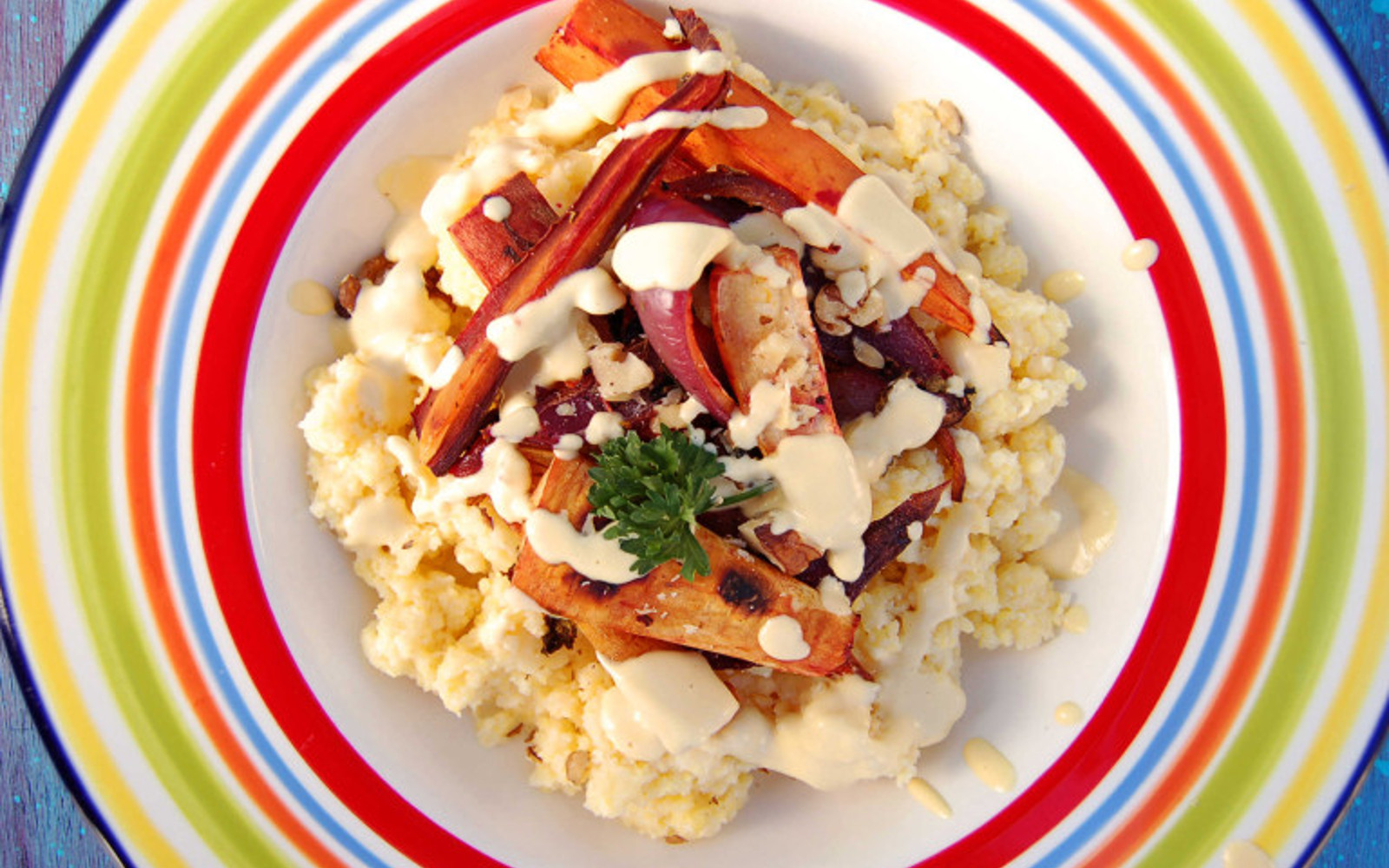 Coconut Polenta With Roasted Root Veggies