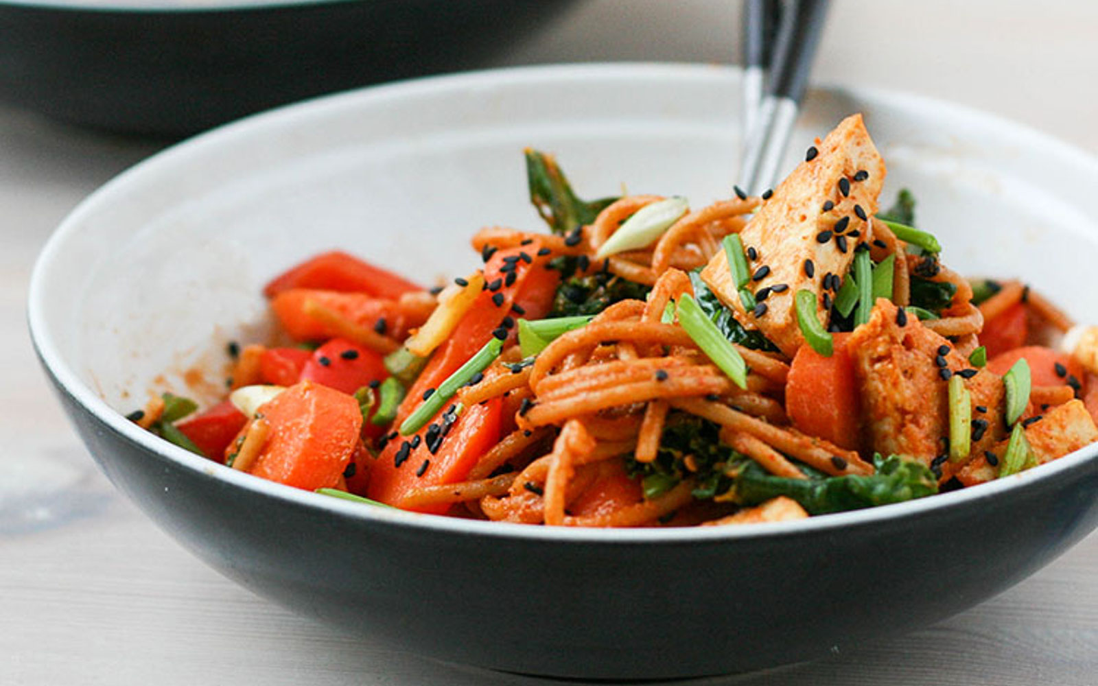 Korean Peanut Noodles With Vegetables and Tofu
