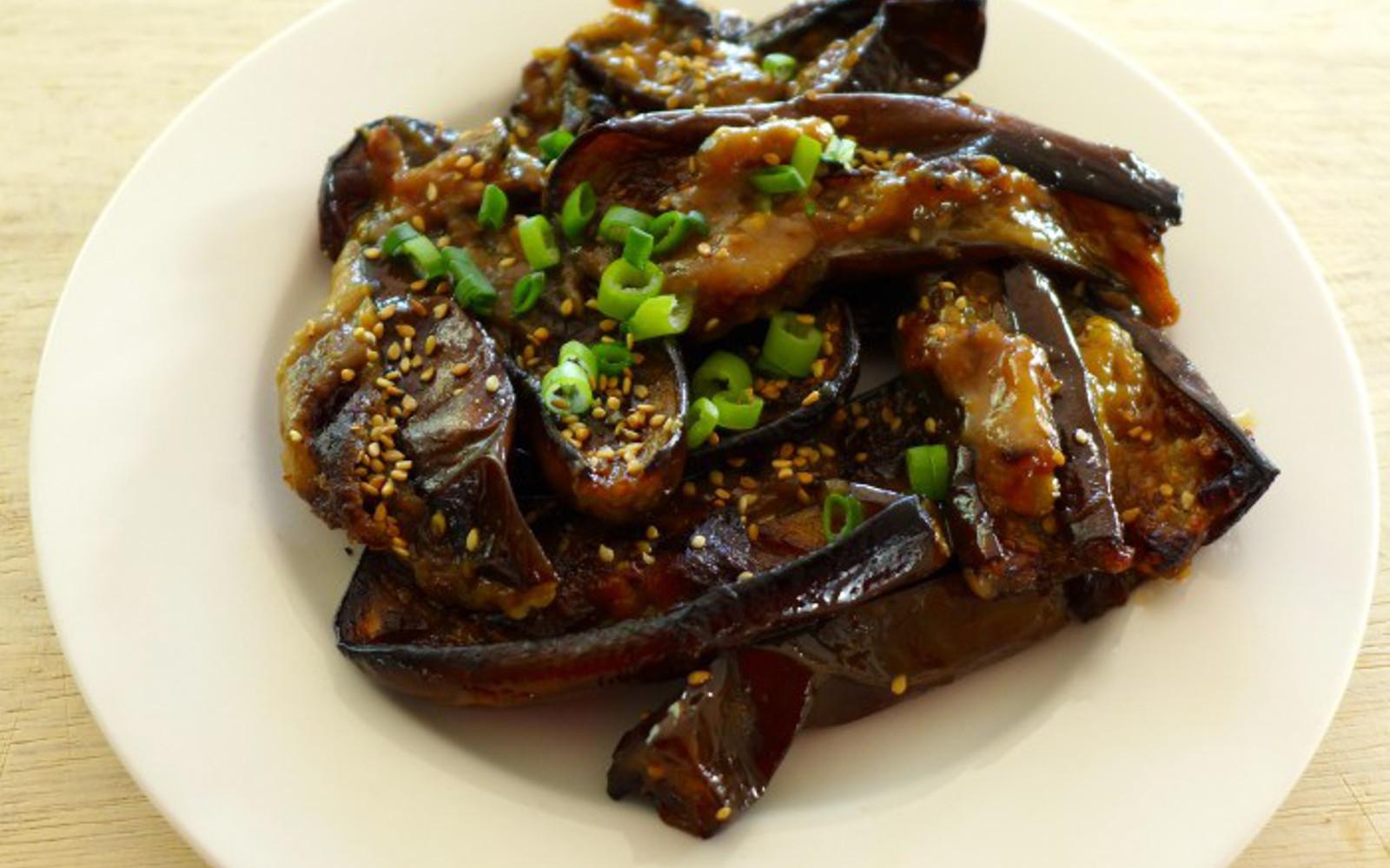 Miso-Roasted Japanese Eggplant and Zucchini