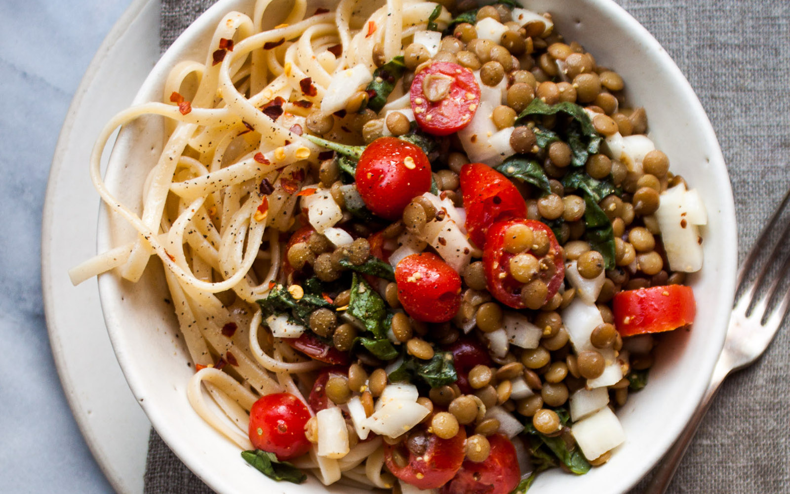 Tomato and Lentil Salad Over Pasta