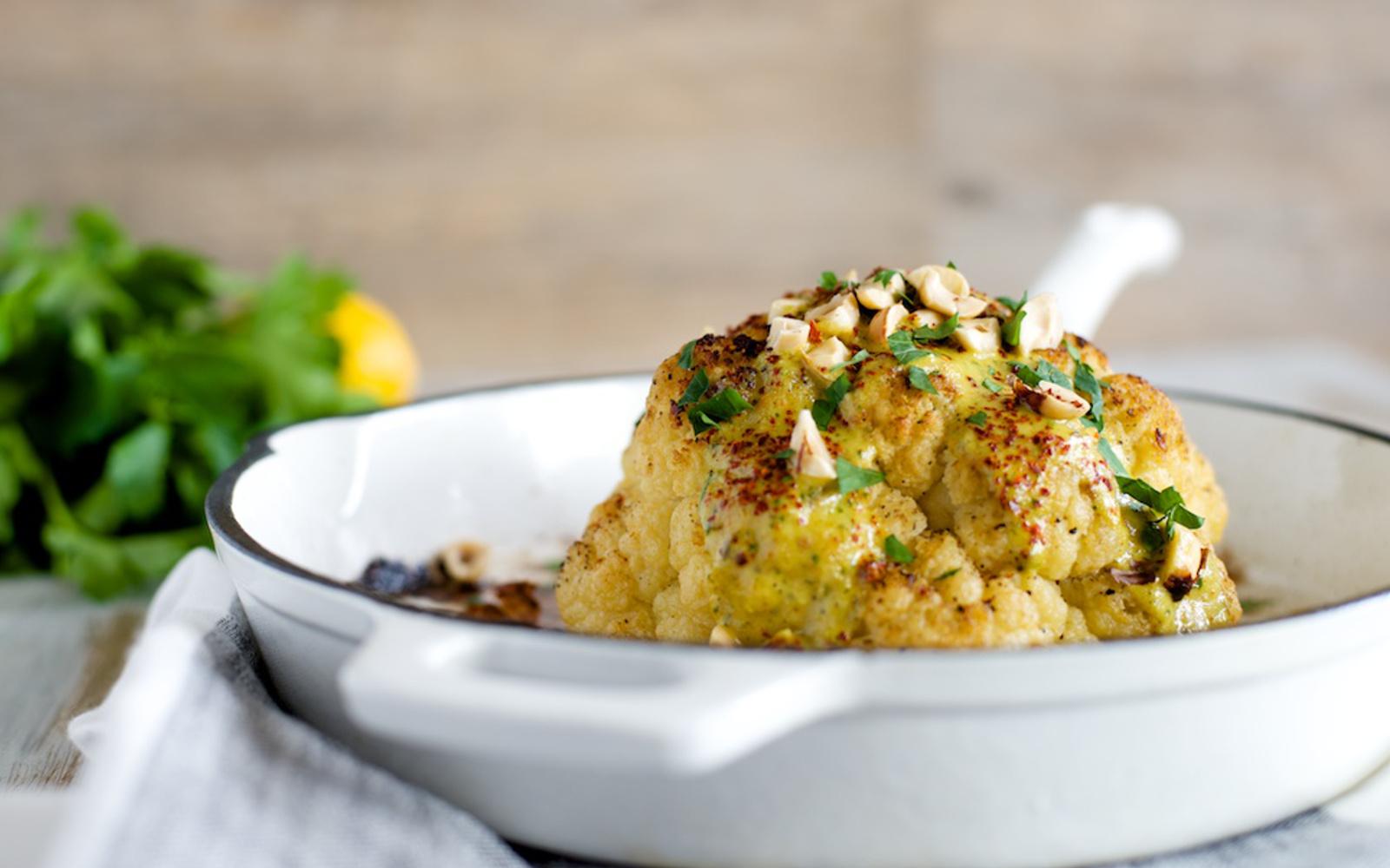 Whole Roasted Cauliflower With Calabrian Chili Tahini Sauce